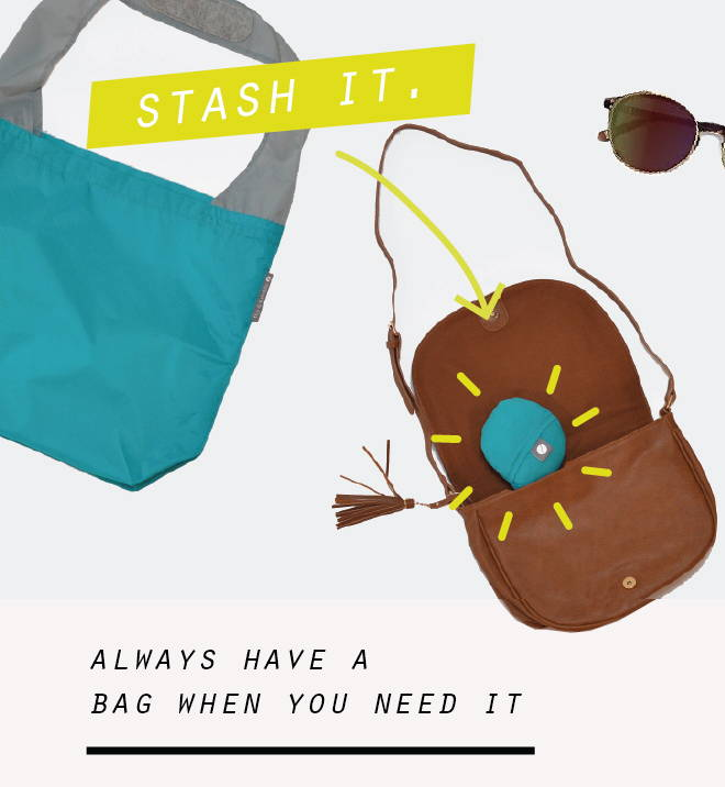 foldable shopping bag in purse - always have a bag when you need it