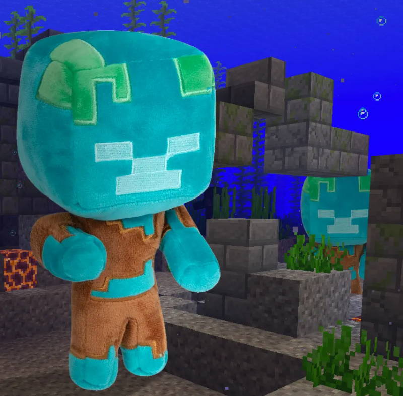 Stylized image of the Minecraft Happy Explorer Drowned Plush