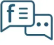 Blue illustration of conversation bubbles with the facebook icon.