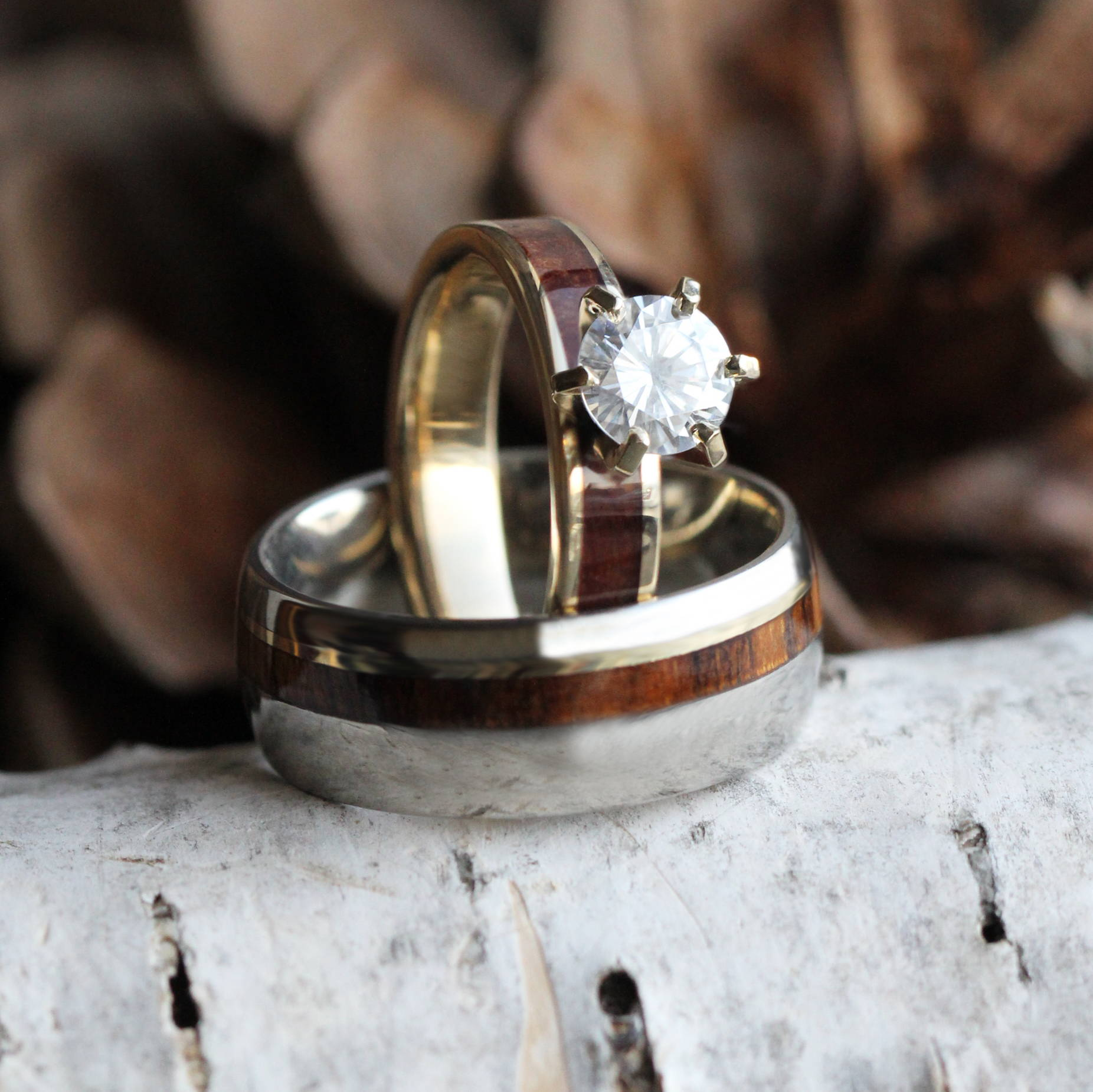 Maple Wood Ring, Unique Bridal Set