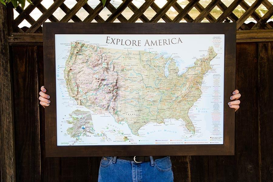 push pin map gift