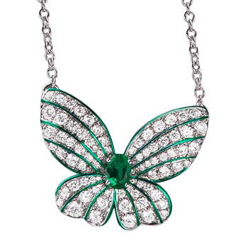 Green butterfly necklace with green center gem and diamond wings