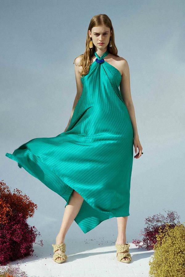 Galvan London Silk Green Open Back Dress