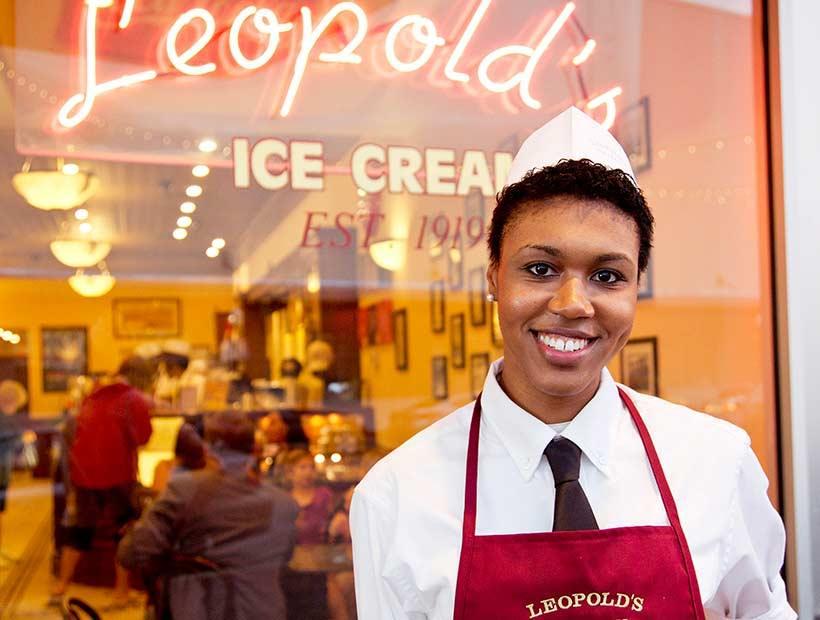 Soda jerk at Leopold's Ice Cream wearing a black necktie