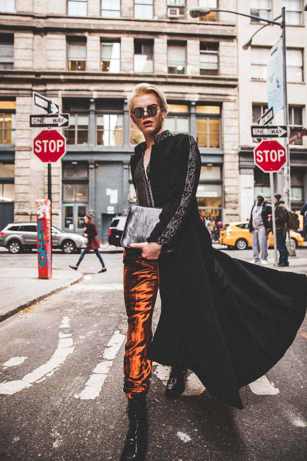 Flying Solo Independent Designers New York City Boutique Street Style Photo Shoot Orange velvet pants