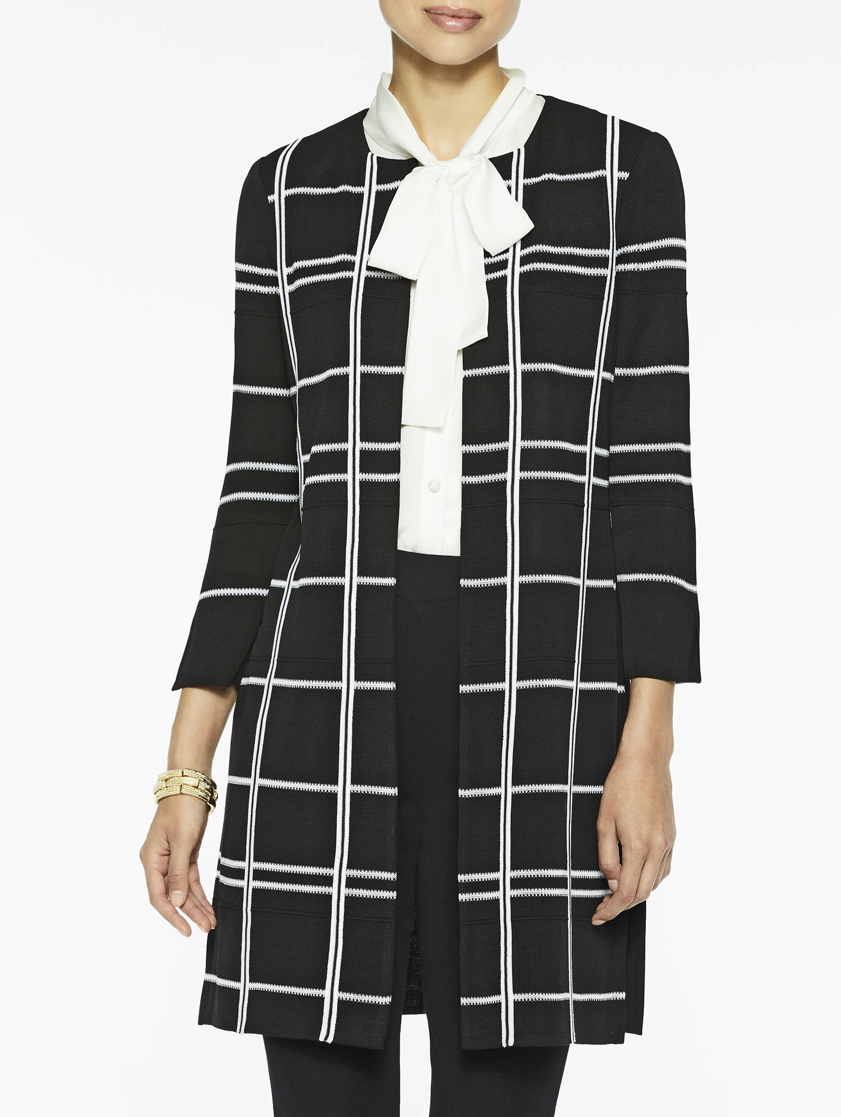 Graphic Plaid Knit Topper in Black and White