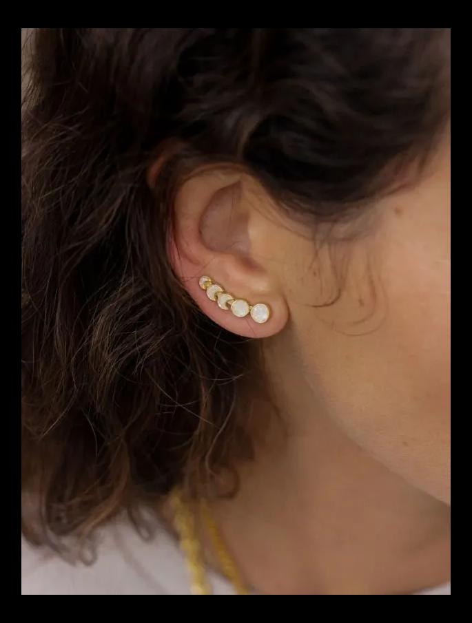 Sahara Ear Climbers featuring crushed pearls