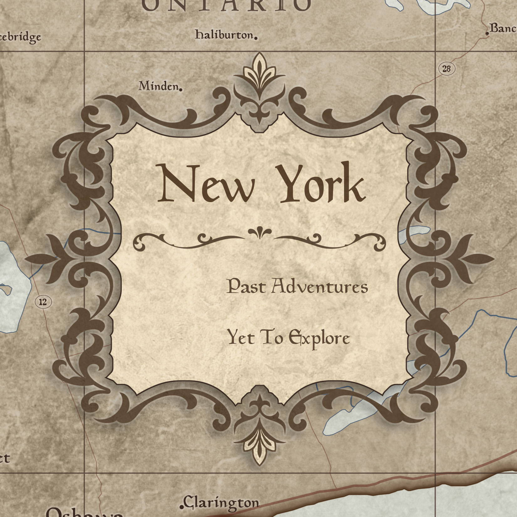 Conquest Maps Rustic Vintage New York Legend