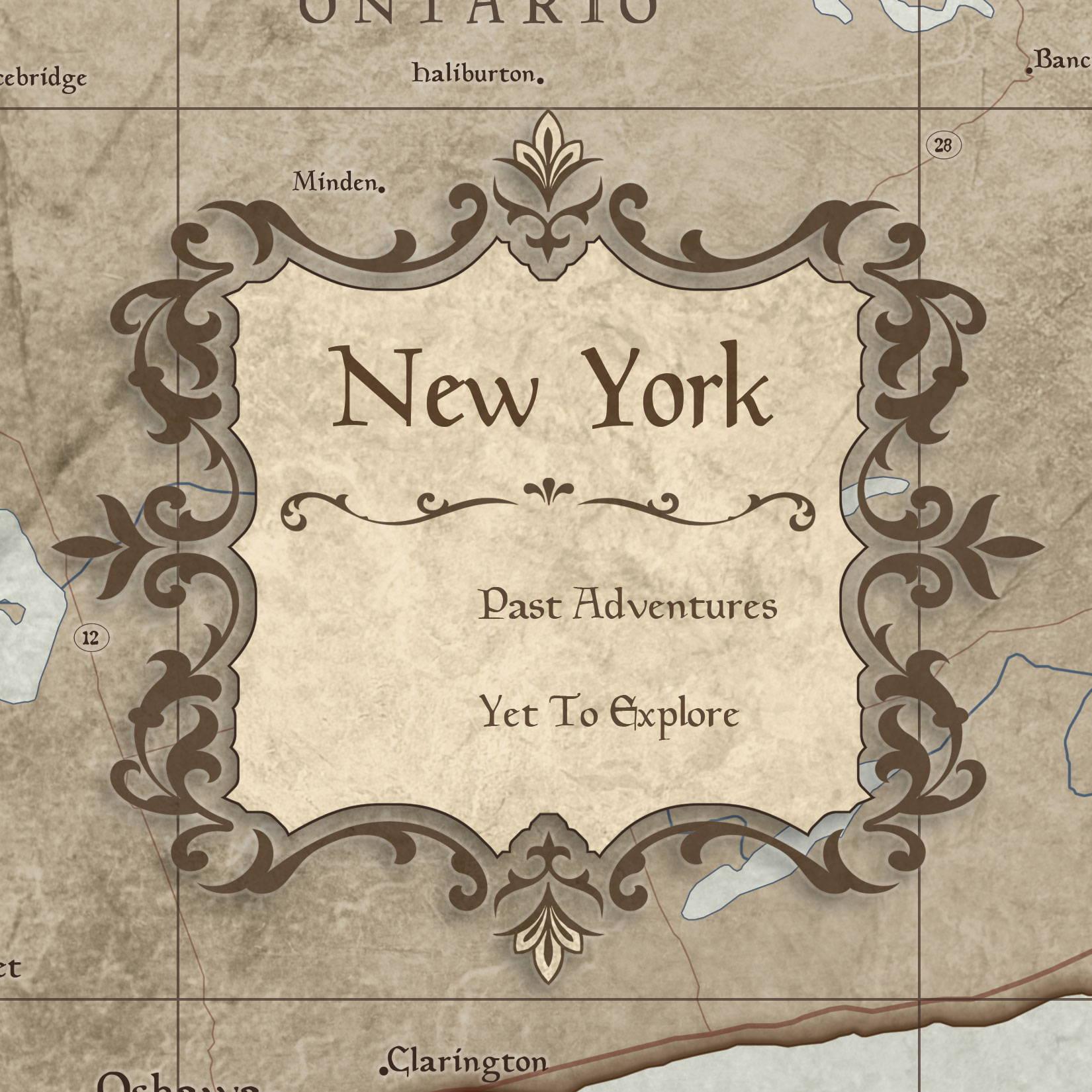 Conquest Maps Rustic Vintage New York Legend