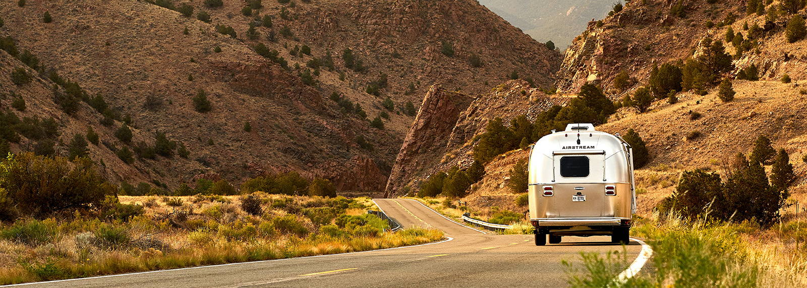 RV driving through desert