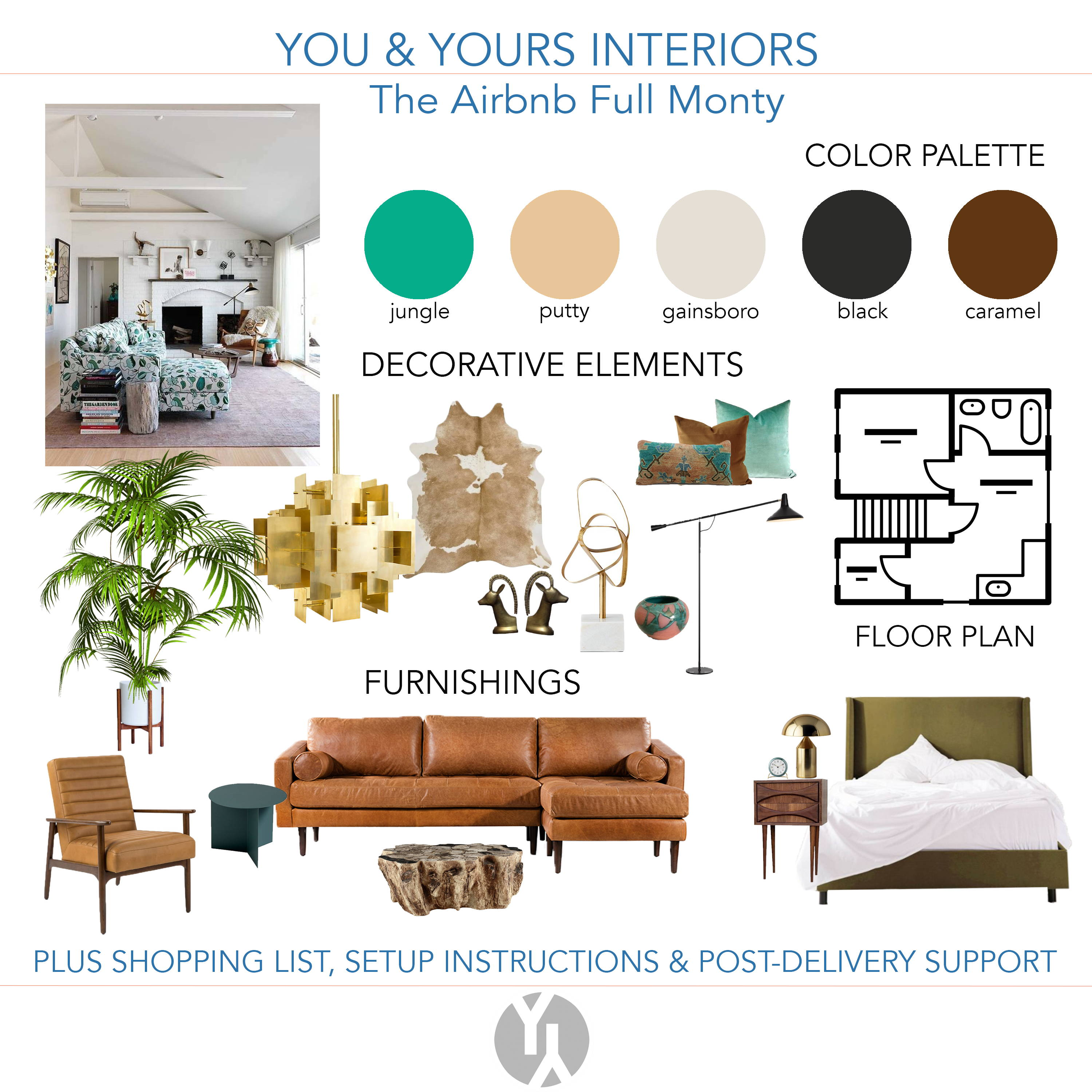 A concept board including a green and brown color palette, brown leather sectional and lounger, green side table, an icon of a floor plan, and brass decorative items.