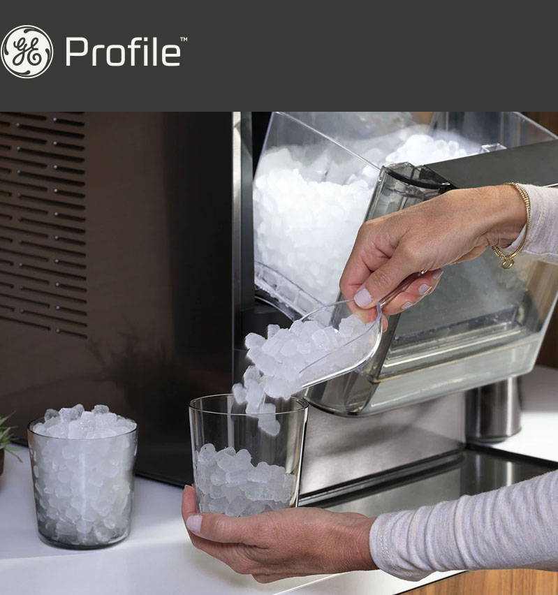 woman pouring nugget ice into a glass