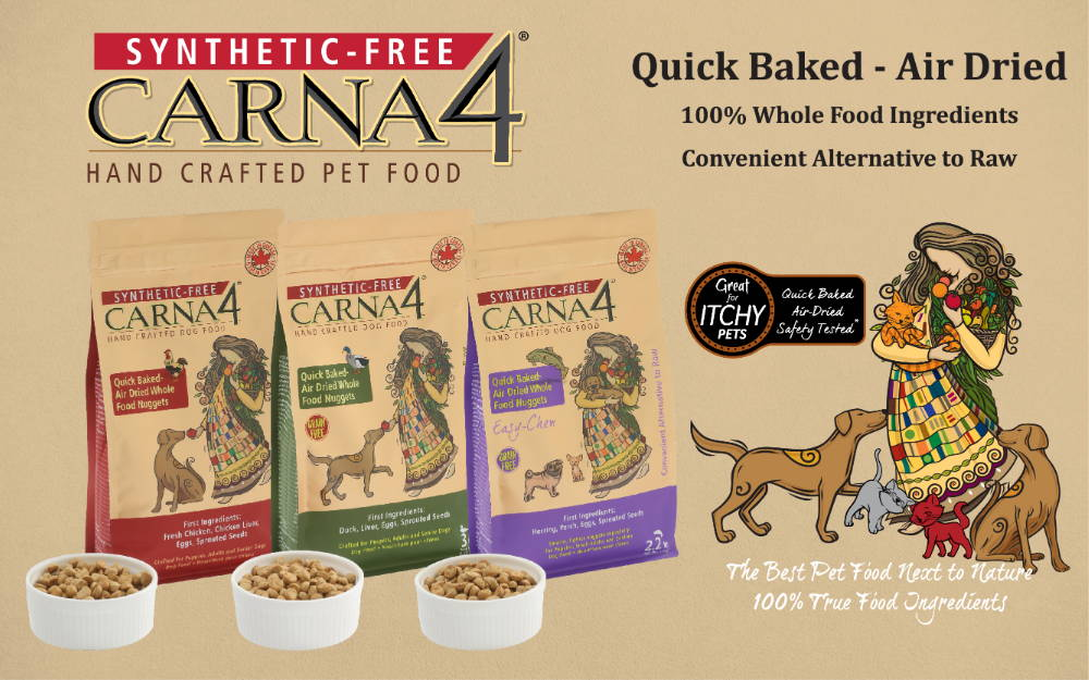 Carna4 synthetic free quick baked - air dried dog food collection banner