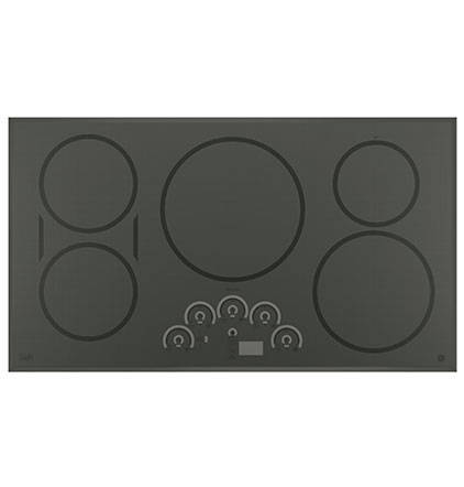 GE Profile Induction cooktop image on white, top-down view