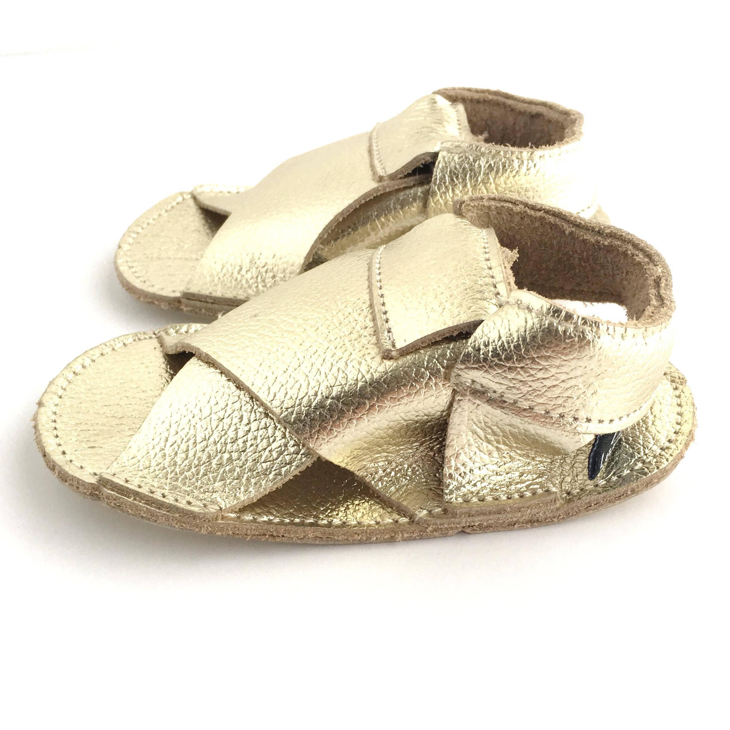 Cross Soft Sole Sandals Metallic Gold Colour Side View