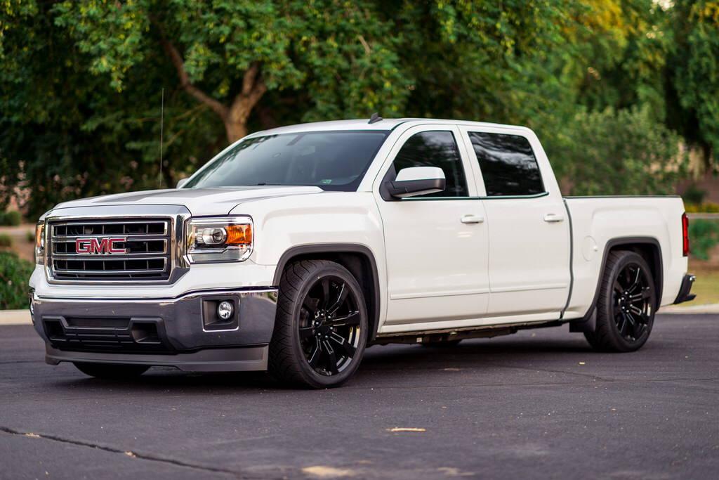 white gmc truck lowered