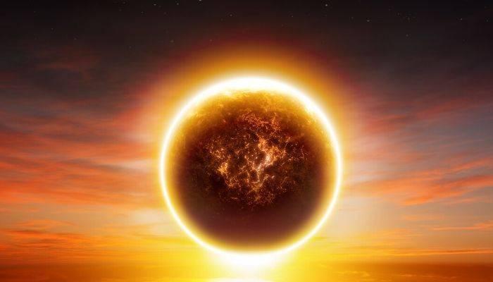 Large burning sun in sky