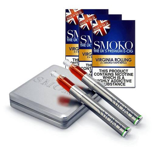 SMOKO VAPE Starter-Kit für elektronische Zigaretten + 3-Nachfüllpacks und zusätzlicher Akku