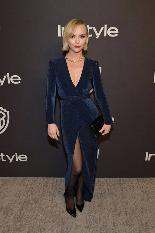 Christina Ricci wearing Galvan London V-Neck Long Sleeves Blue Dress