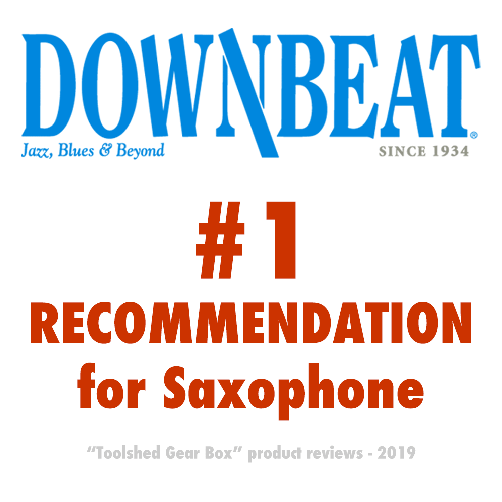 Downbeat jazz magazine recommends Key Leaves saxophone car products to fix sticking sax key pads and prevent sticky G#, C#, And Eb key pads. Downbeat magazine gave Key Leaves a #1 recommendation for saxophone care product in their May 2019 issue of Toolshed Gear Box.