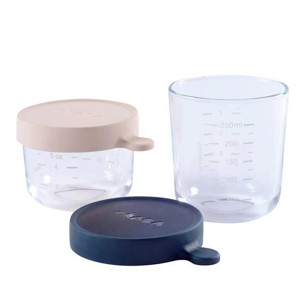 Beaba Set of 2 Glass Jars - Pink/Blue