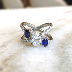 diamond and sapphire axis ring