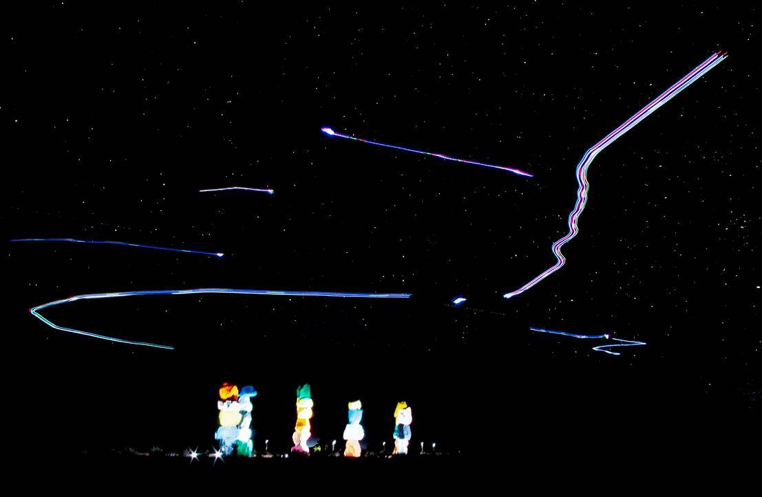 Light painting with drones at Sundance Media Group Night Drone Certification Course