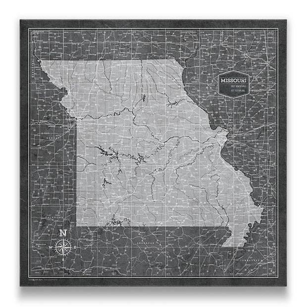 Missouri Push pin travel map modern slate