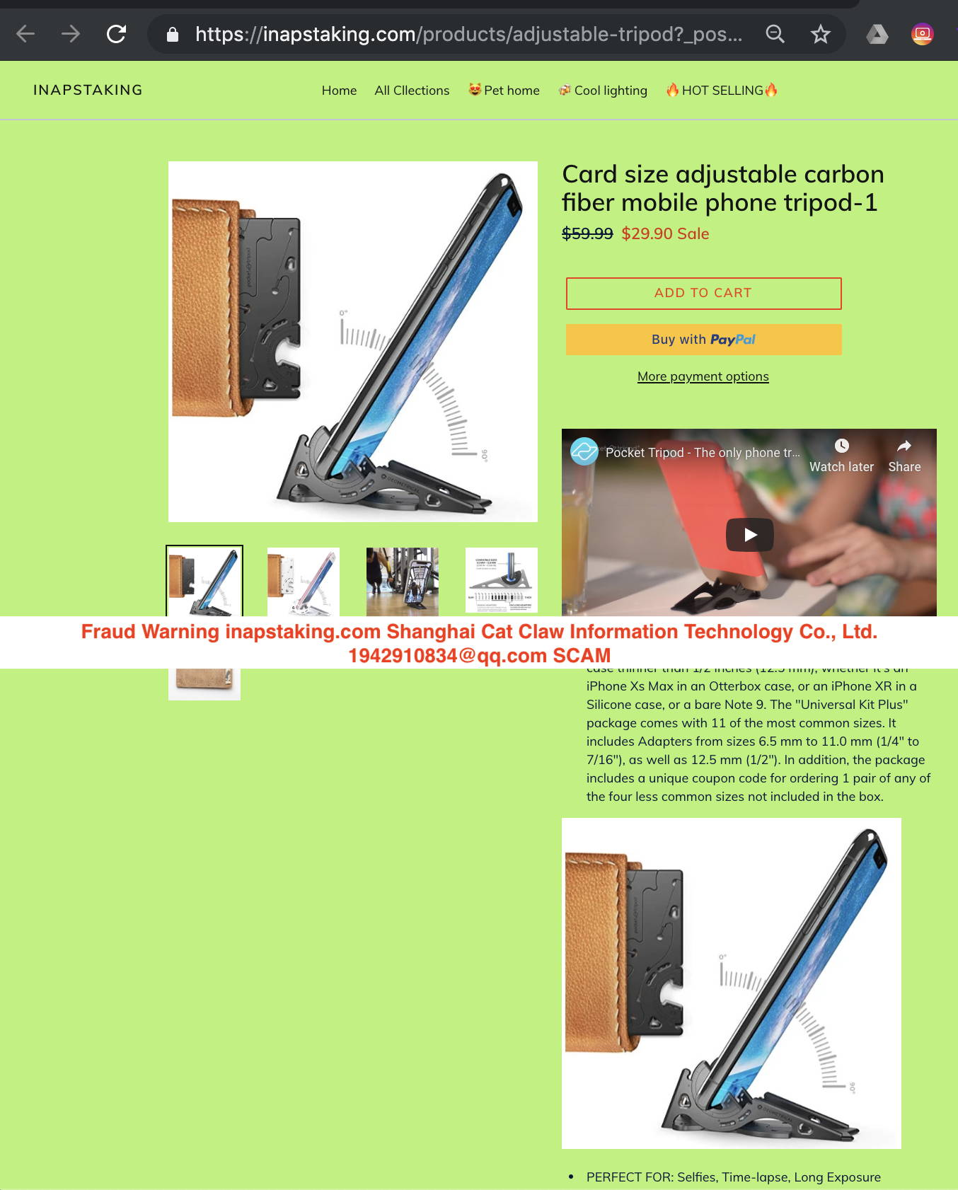 Avoid SCAM websites – Geometrical Pocket Tripod