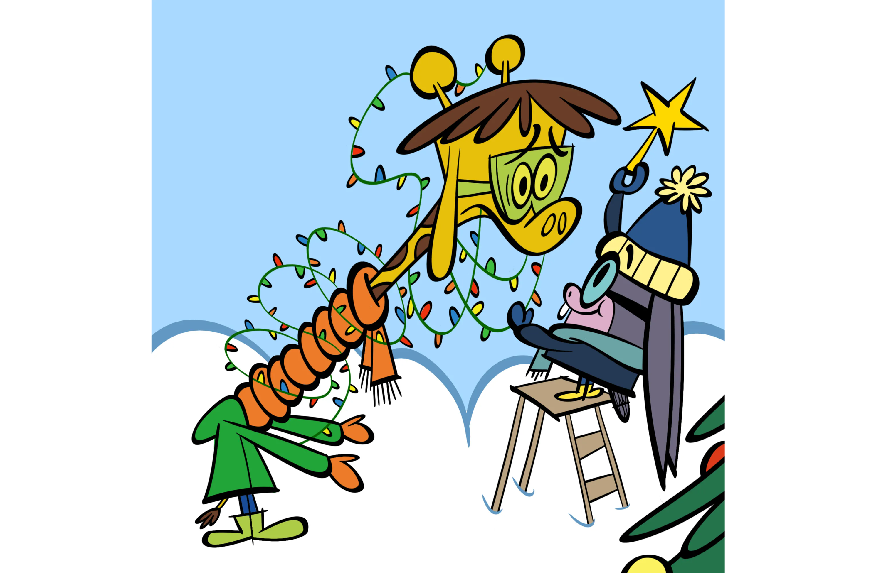 illustrated character decorated as a tree