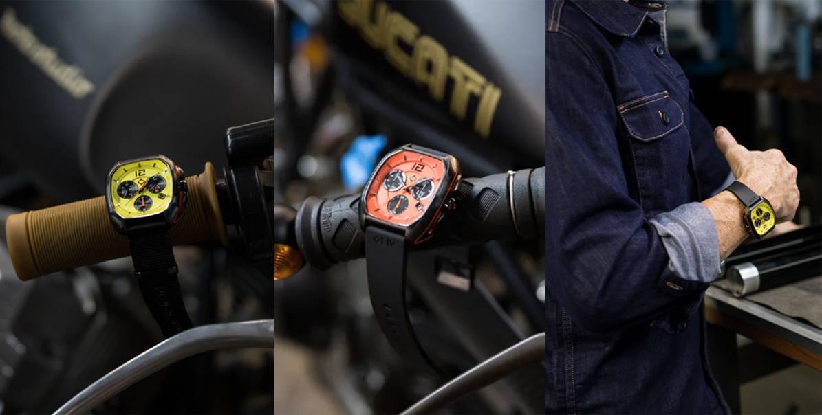 Medium shot panel of LIV Watches Rebel with yellow and orange dials at Moto-Studio