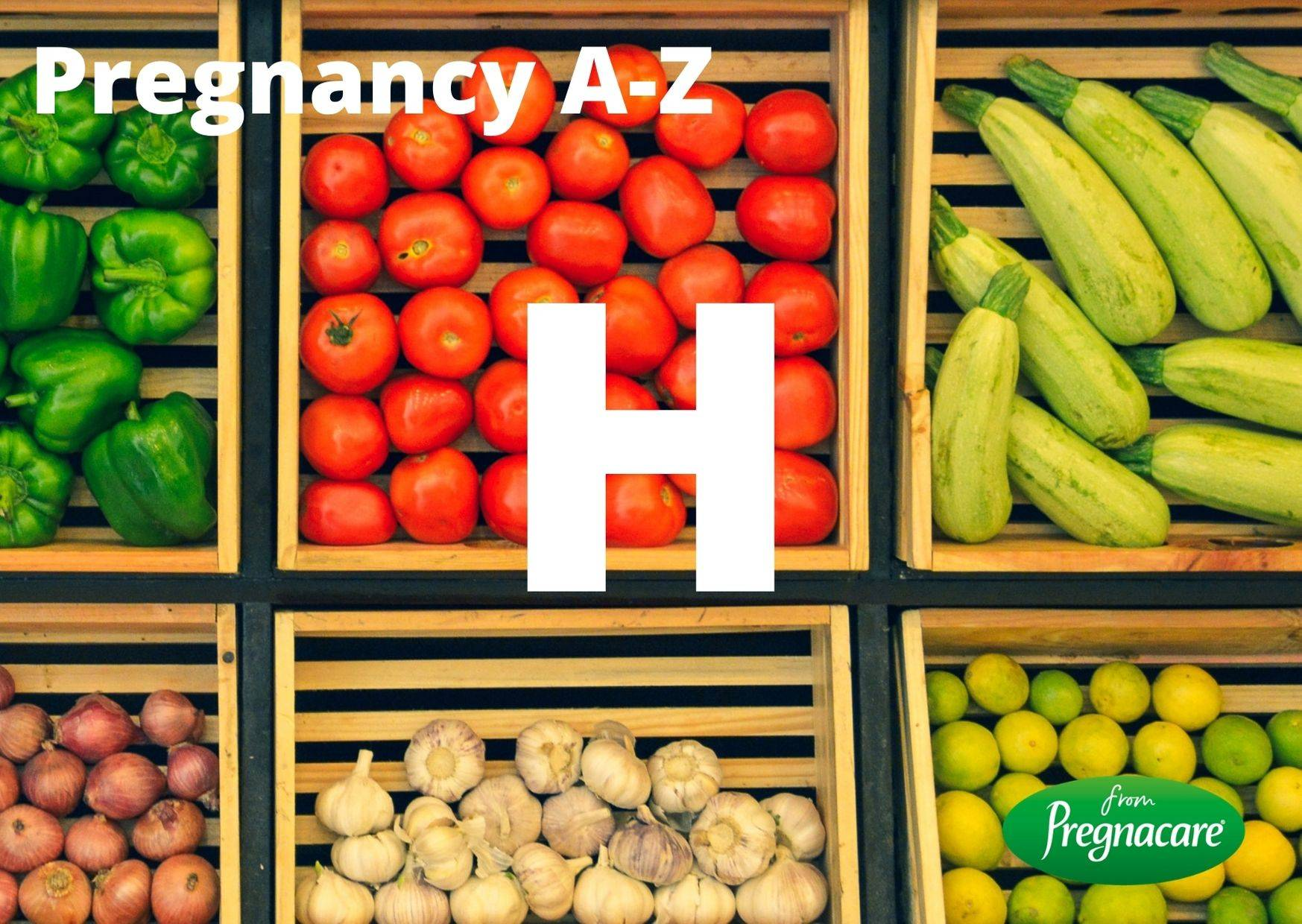 Letter H With Fruit And Vegetables Background