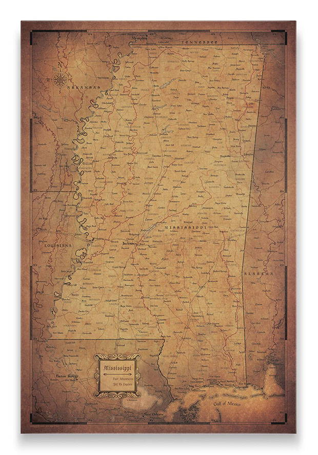 Mississippi Push pin travel map golden aged