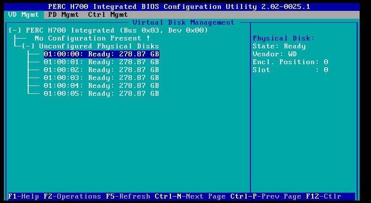 perc h700 raid controller configuration utility screen