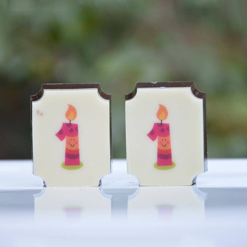 candle printed chocolates for 1st birthday