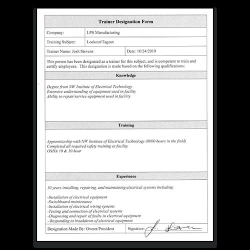 Lockout Tagout Trainer Designation Form