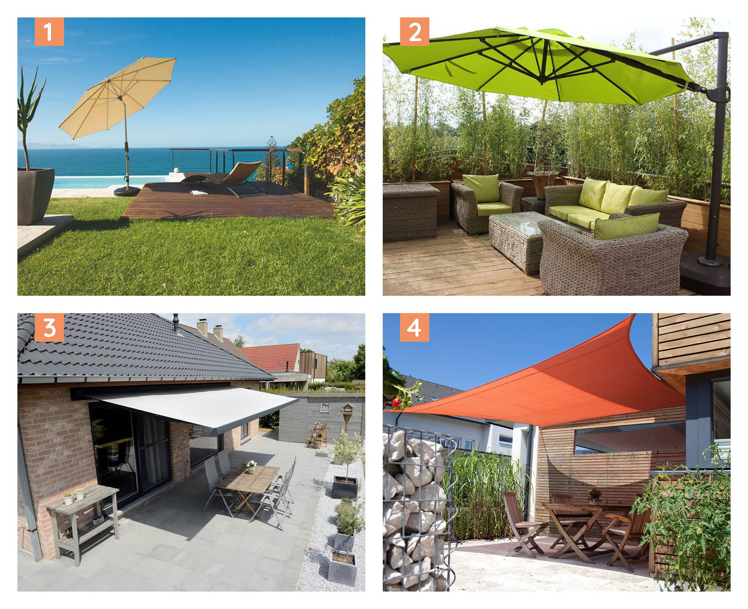 4 forskellige muligheder for at skabe skygge på terrassen. 1 parasol. 2 hængeparasol. 3 markise og 4 solsejl.