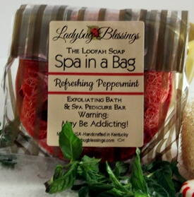 loofah soap, spa in a bag, peppermint foot soap, foot soap, peppermint loofah soap, foot care