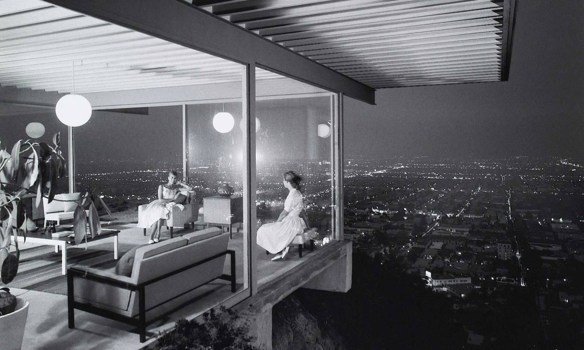 The Stahl House floating over Los Angeles.