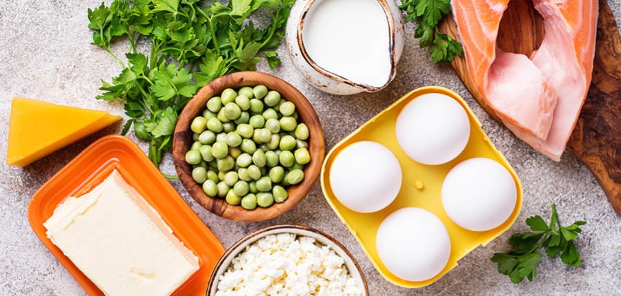 table filled with foods high in vitamin D