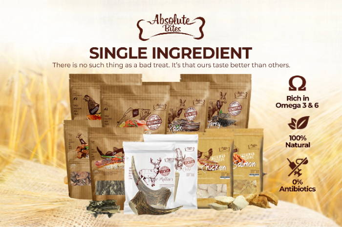 Absolute Bites freeze-dried / air-dried dog and cat treats mobile banner