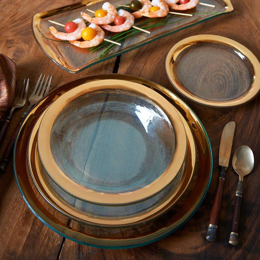 Roman Antique - Gold Band Glass Dinnerware