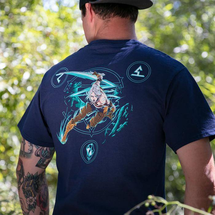 Male model wearing The Witcher 3 Lion of Cintra Pocket Tee