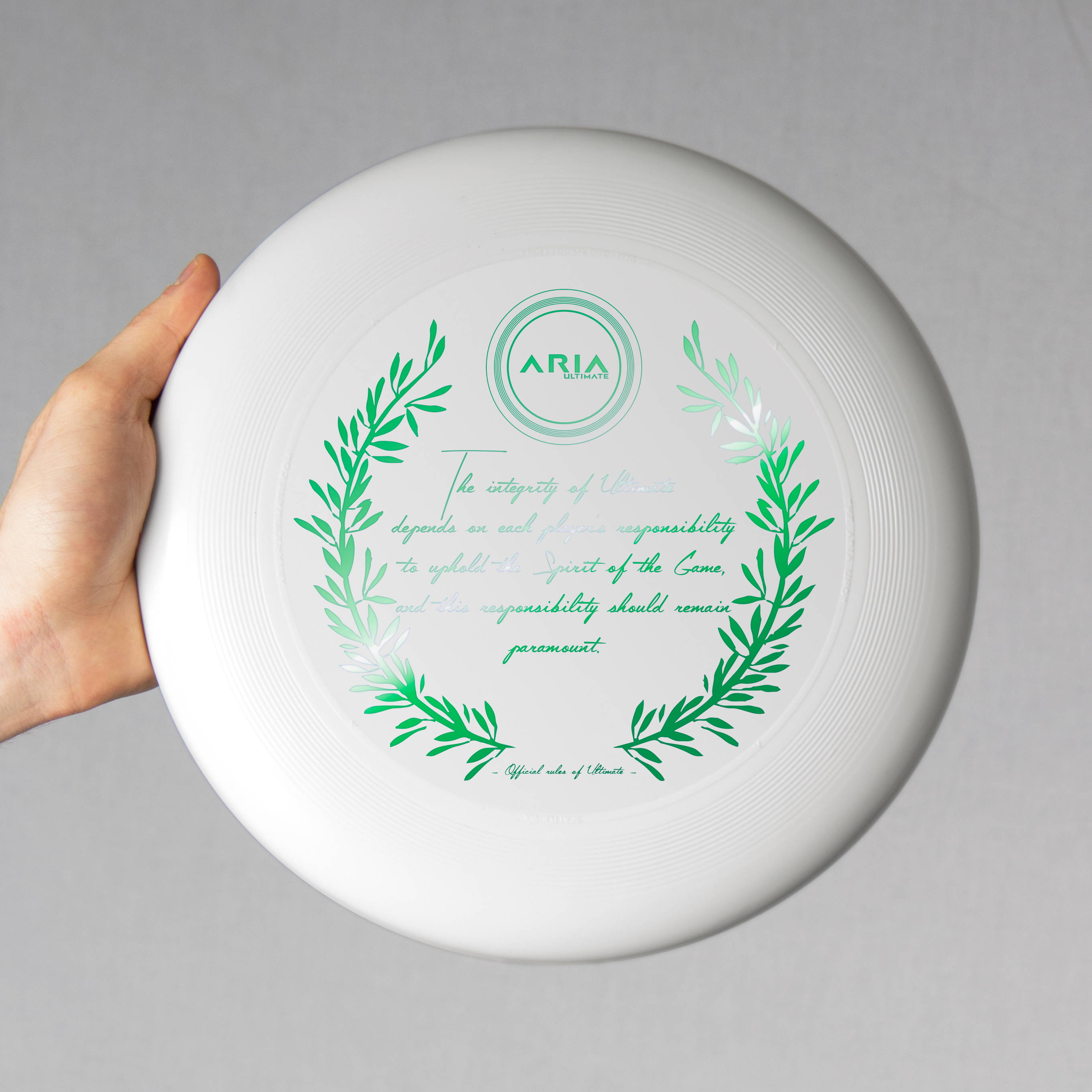 ARIA professional official ultimate flying disc for the sport commonly known as 'ultimate frisbee' sotg spirit of the game disc design