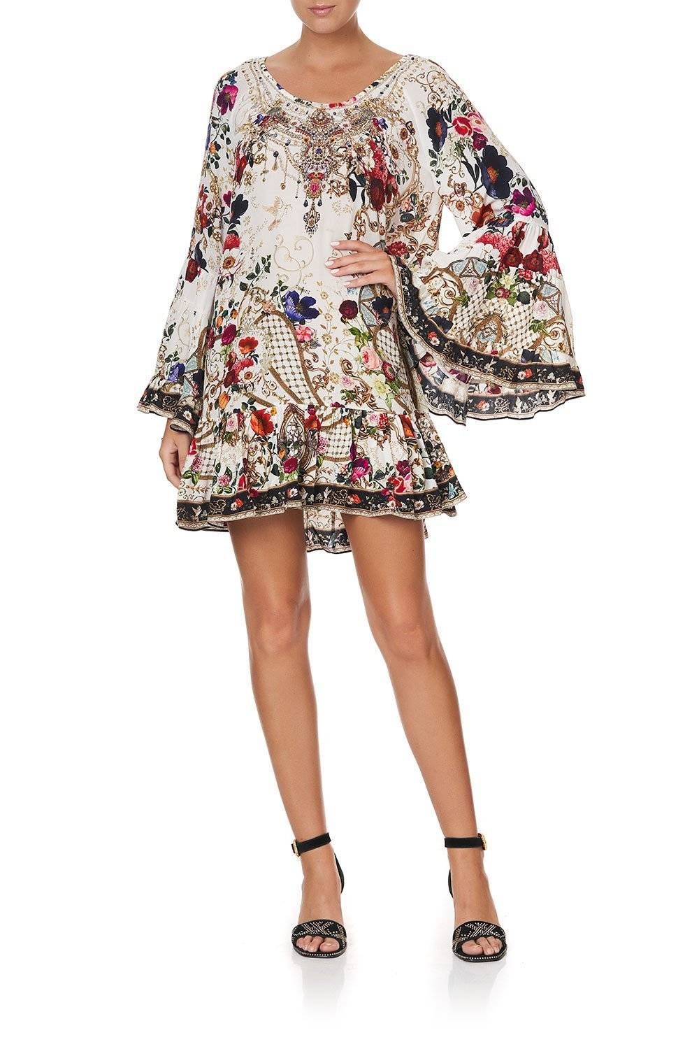 CAMILLA white and pink floral a line dress