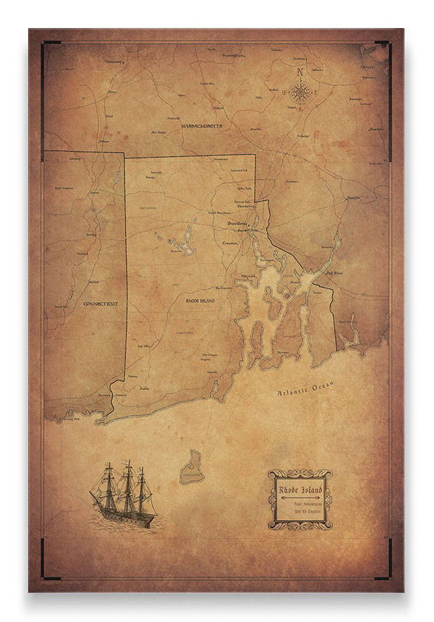 Rhode Island Push pin travel map golden aged