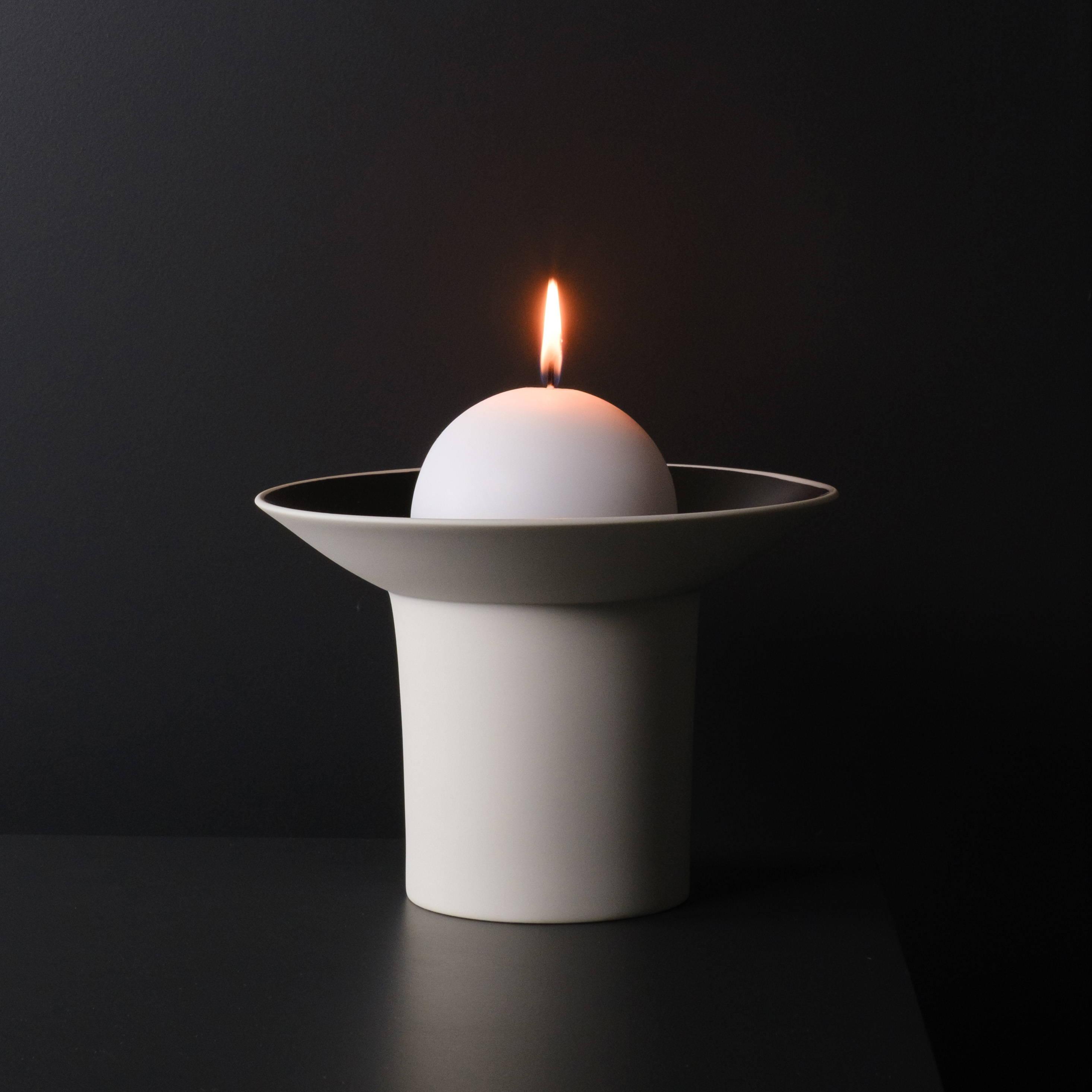 Darley Porzellan Kerzenschale Platindekor Weiß