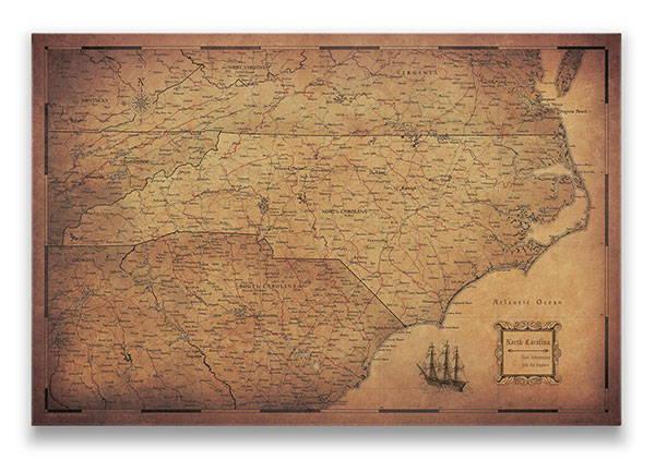 North Carolina Push pin travel map golden aged