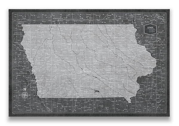 Iowa Push pin travel map modern slate