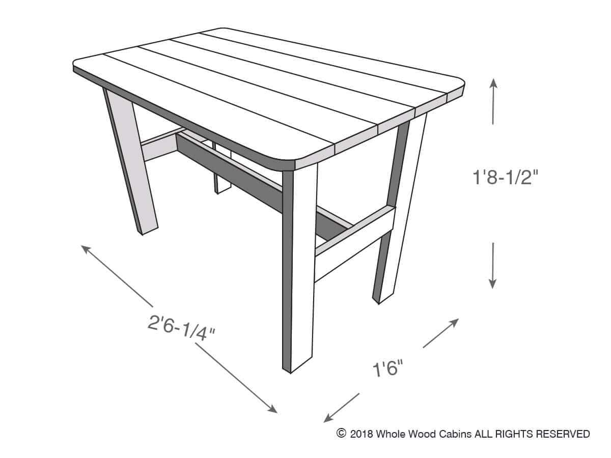 Drawing of a kids table included in the kids playhouses